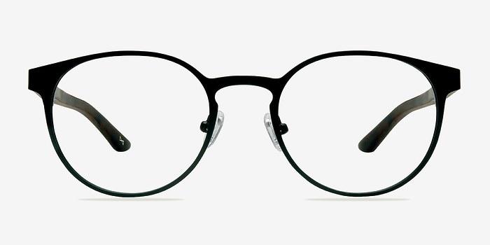 Black Steel/Wood Outline -  Designer Metal Eyeglasses