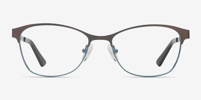 Brown Blue Sabrina -  Metal Eyeglasses