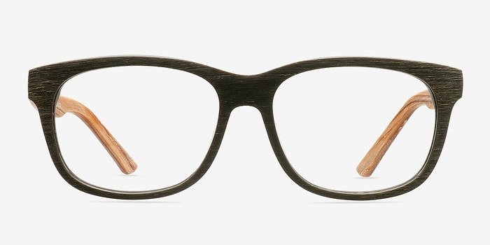 Olive White Pine -  Fashion Wood Texture Eyeglasses