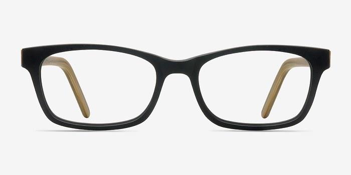 Black/Yellow Mesquite -  Classic Wood Texture Eyeglasses