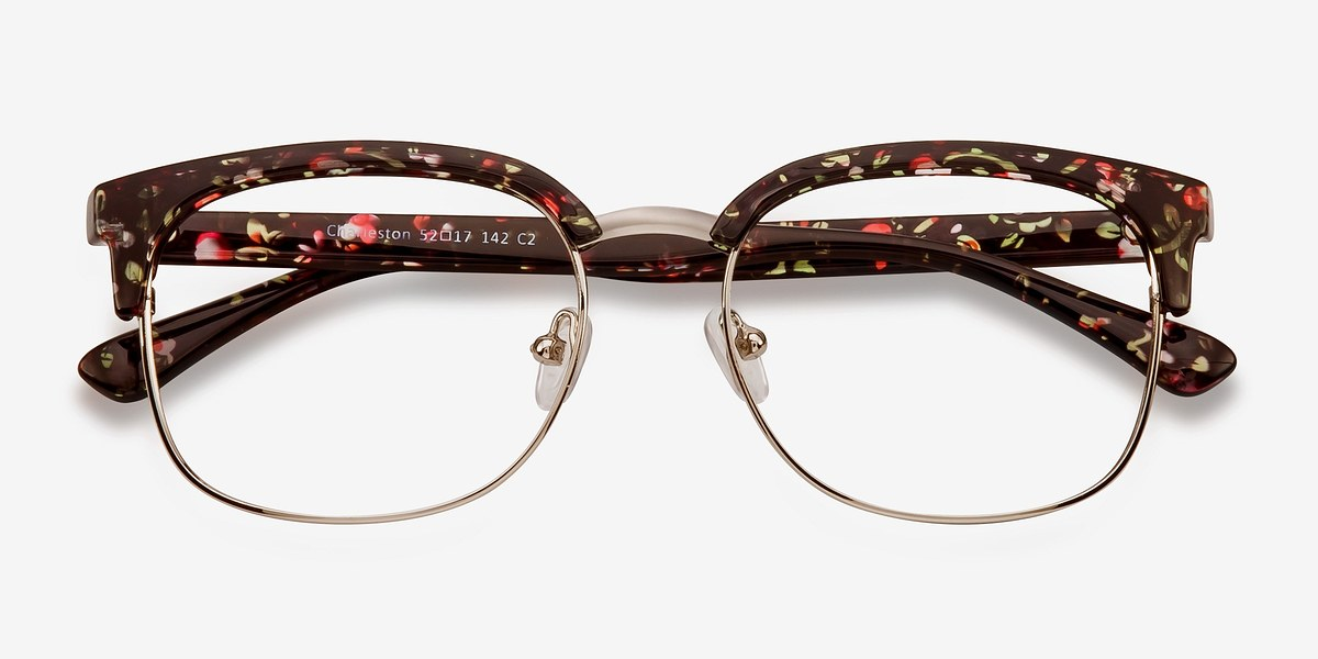 charleston silver floral plastic eyeglasses