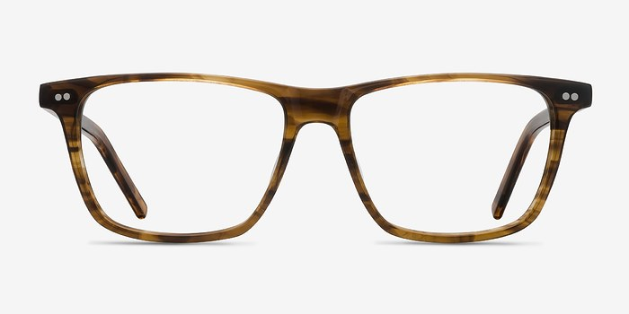 Brown Striped Default -  Acetate Eyeglasses