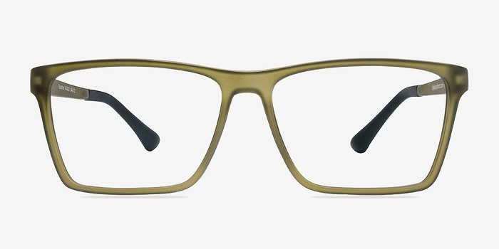 Matte Olive Equation -  Fashion Plastic Eyeglasses