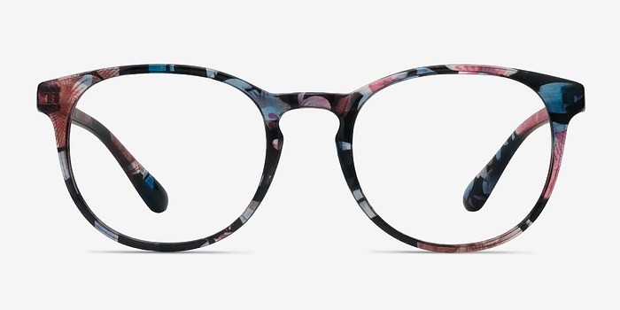 Blue Floral Little Muse -  Plastic Eyeglasses