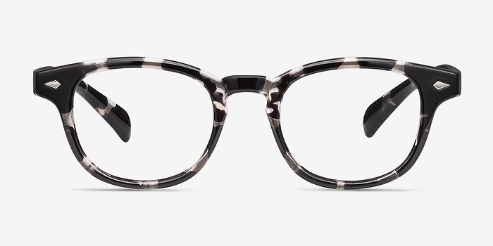 Gray Floral Atomic -  Colorful Plastic Eyeglasses