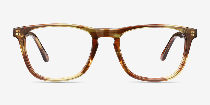 Brown Striped Prelude -  Acetate Eyeglasses