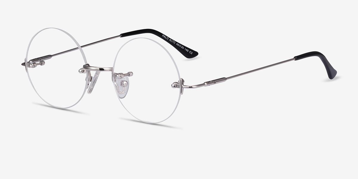 Rimless Glasses Melbourne : Palo Alto Silver Metal Eyeglasses EyeBuyDirect