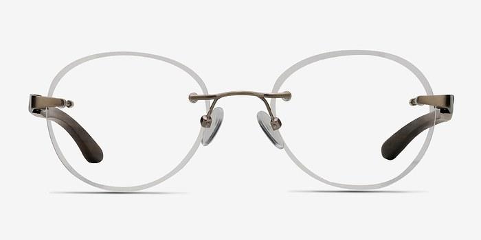 Matte Silver Fuse -  Lightweight Wood Texture Eyeglasses
