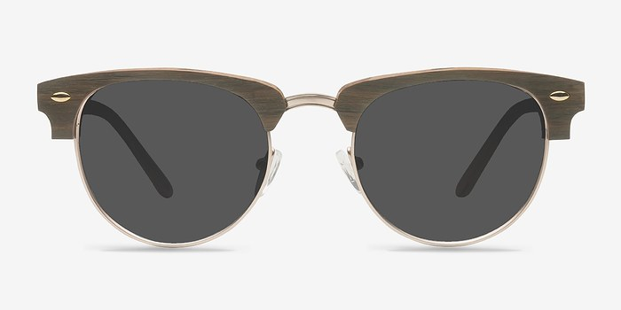 Walnut & Gold The Hamptons -  Vintage Wood Texture Sunglasses