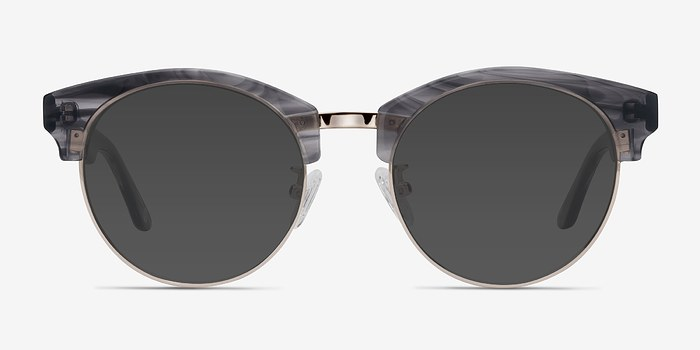 Gray Striped Starlet -  Acetate Sunglasses