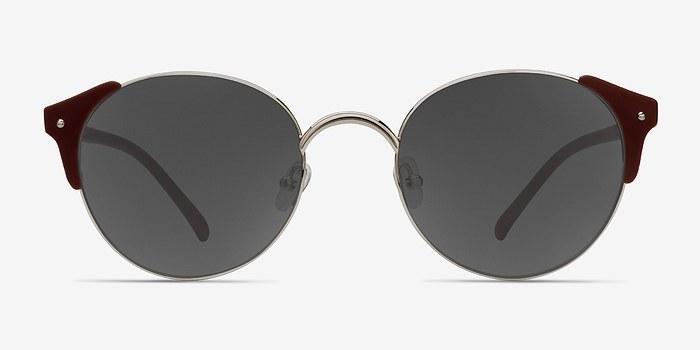 Silver Burgundy Miaou -  Metal Sunglasses