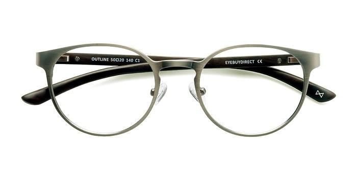 Matte Silver/Wood Outline -  Designer Wood Texture Eyeglasses