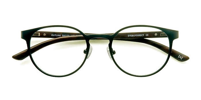 Black Steel/Wood Outline -  Designer Wood Texture Eyeglasses