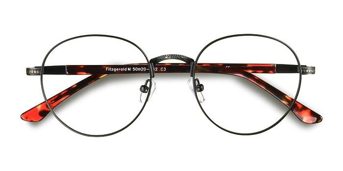 Black & Gunmetal Fitzgerald -  Classic Metal Eyeglasses