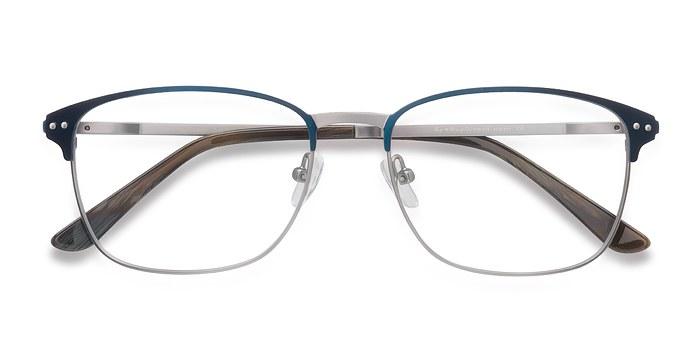 Navy Silver Arcadian -  Classic Metal Eyeglasses