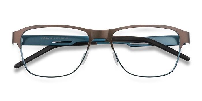 Matte Brown Python -  Metal Eyeglasses
