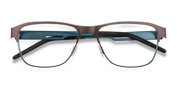 Matte Brown Python -  Metal Eyeglasses