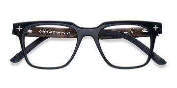 Black Oxford -  Fashion Wood Texture Eyeglasses
