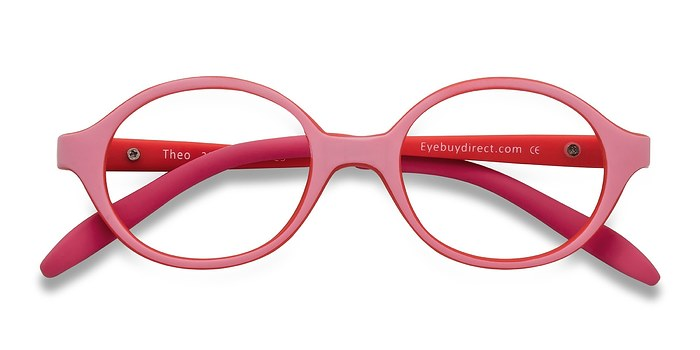 Pink/Red Theo -  Lightweight Plastic Eyeglasses