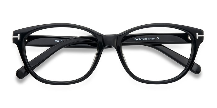 Black Mia Farrow -  Classic Acetate Eyeglasses