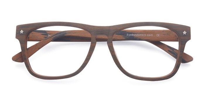 Brown Indian Creek -  Classic Wood Texture Eyeglasses