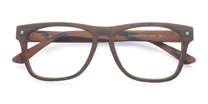 Brown Indian Creek -  Classic Wood Texture Eyeglasses