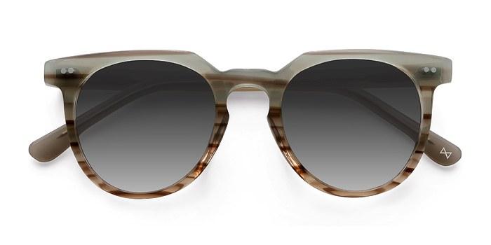 Striped Mint Shadow -  Acetate Sunglasses