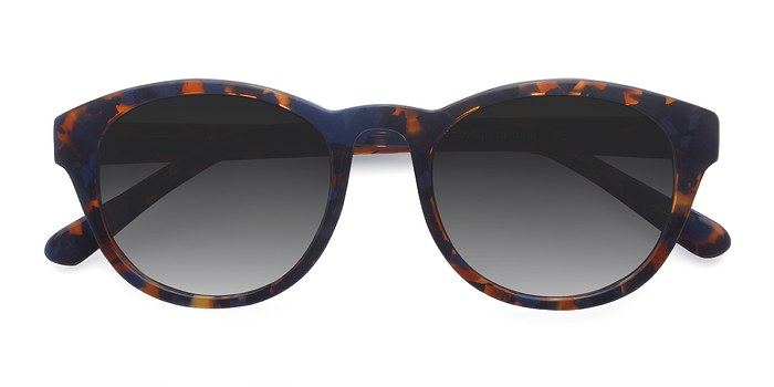 Blue Floral Coppola -  Vintage Acetate Sunglasses