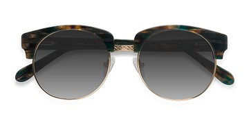Green Striped  Simone -  Vintage Acetate Sunglasses