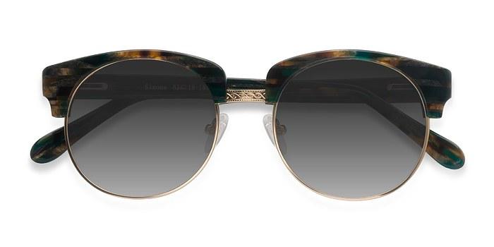 Green Striped  Simone -  Acetate Sunglasses