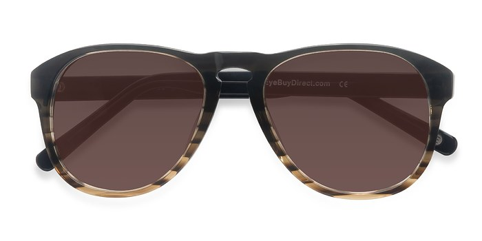 Brown Striped Phased -  Acetate Sunglasses