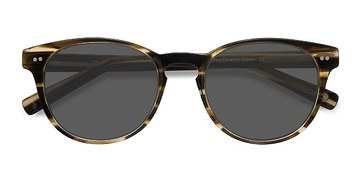 Brown Striped Till Dawn -  Acetate Sunglasses