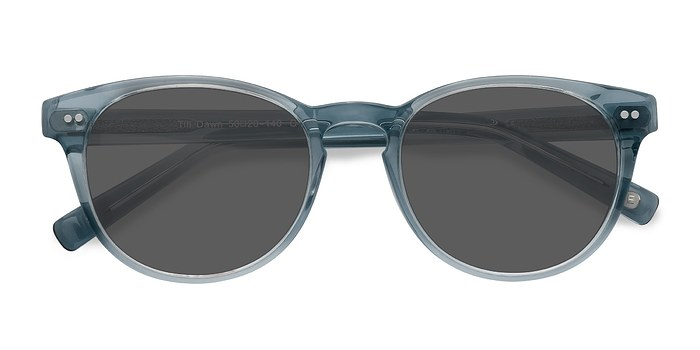 Clear Blue Till Dawn -  Vintage Acetate Sunglasses