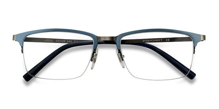 Matte Blue Logic -  Metal Eyeglasses