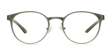 Matte Silver/Wood Outline -  Classic Metal Eyeglasses