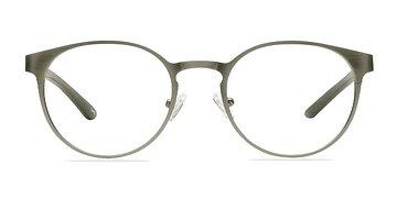 Matte Silver/Wood Outline -  Designer Metal Eyeglasses