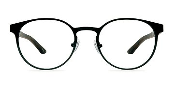 Black Steel/Wood Outline -  Designer Metal Eyeglasses