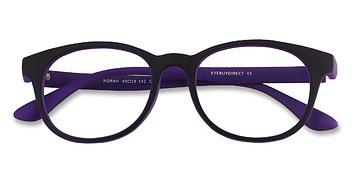 Matte Black/Purple Norah -  Classic Plastic Eyeglasses