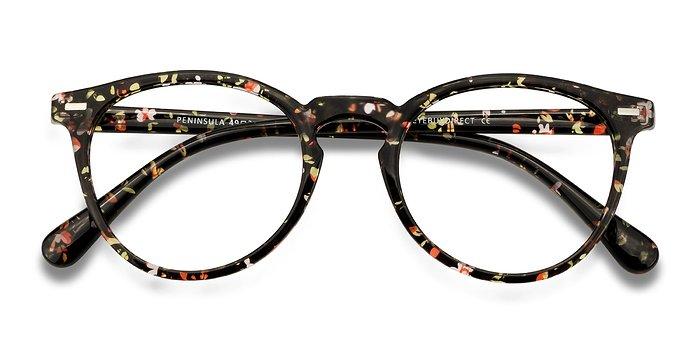 Red Floral Peninsula -  Plastic Eyeglasses