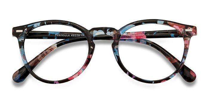 Blue Floral Peninsula -  Plastic Eyeglasses