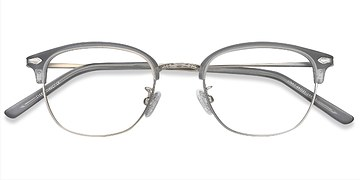 Matte Gray Links -  Vintage Metal Eyeglasses