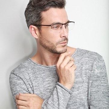Brown Wayne -  Metal Eyeglasses - model image