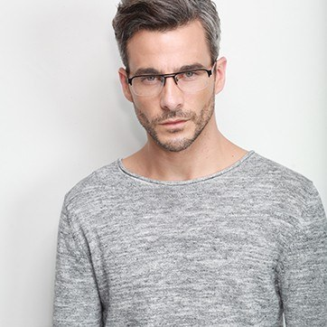 Black Delta -  Metal Eyeglasses - model image
