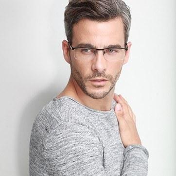 Black Chute -  Metal Eyeglasses - model image