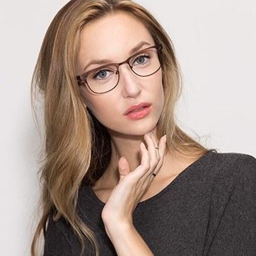 Coffee Merrion -  Fashion Metal Eyeglasses - model image