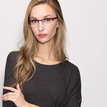 Burgundy Merrion -  Fashion Metal Eyeglasses - model image