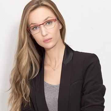 Matte Burgundy Admire -  Fashion Metal Eyeglasses - model image