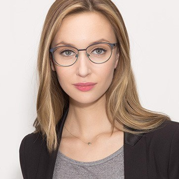 Navy Mamba -  Fashion Metal Eyeglasses - model image