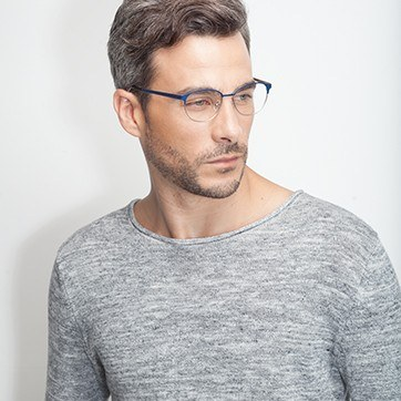 Navy Silver Mamba -  Fashion Metal Eyeglasses - model image