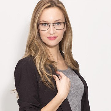 Dark Gunmetal  Clinton -  Classic Metal Eyeglasses - model image